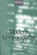 Modern lexicography : an introduction /
