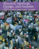 Research methods, design, and analysis /